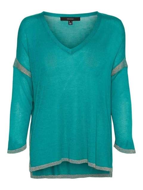 Blusa Contrastes Brillantes Chica Vero Moda 10242473 VMELEN LUREX 3/4 V-NECK BLOUSE FR REP