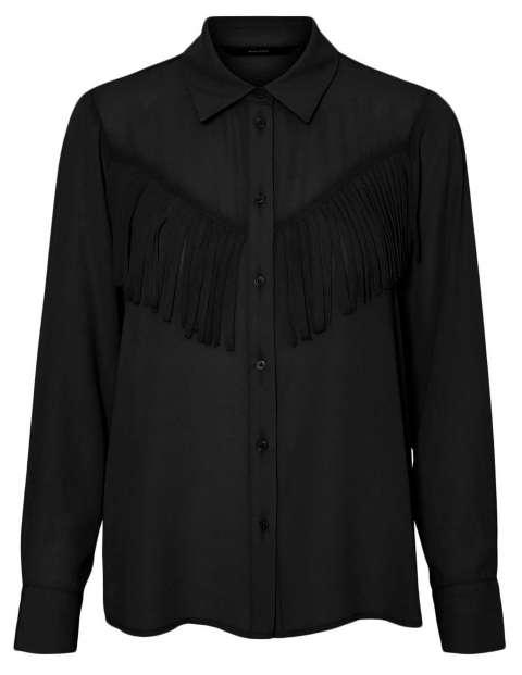 Camisa negra para chica 10240279 VMLYSA L/S SHIRT WVN