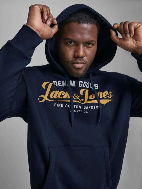 Sudadera Capucha Hombre Jack & Jones Plus 12173959 JJELOGO SWEAT HOOD 2