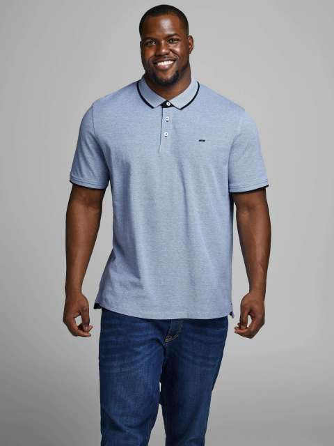 Polo Piqué Hombre Jack & Jones Plus 12143859 JJEPAULOS POLO SS NOOS PS