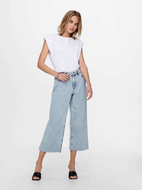 Jeans Wide Leg Cut Out Mujer Only 15230092 ONLSONNY HR LIFE CRP DNM JNS NAS