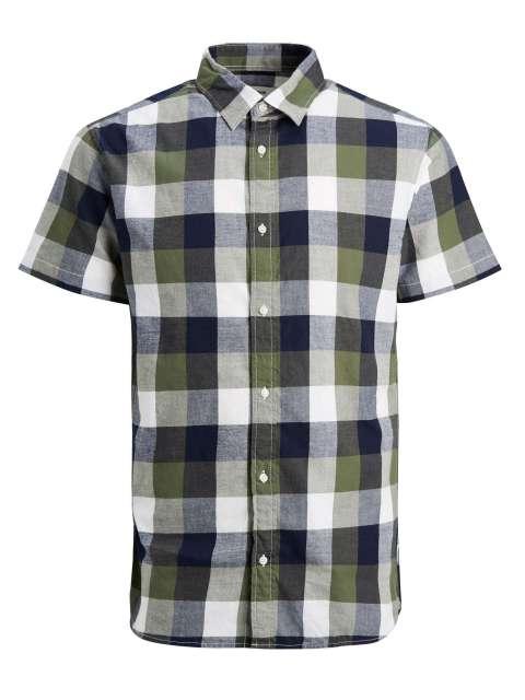 Camisa Hombre Cuadros Jack&Jones 12183908 JJEDDIE SHIRT SS PLAIN