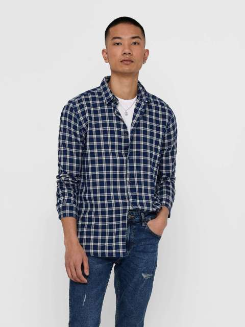 Camisa Cuadros Hombre Only & Sons 22015340 ONSMORE SMALL CHECK SHIRT FS 5340