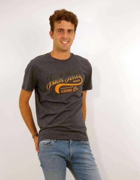 Camiseta Texto Hombre Jack & Jones 12188718 JJNICK TEE SS CREW NECK