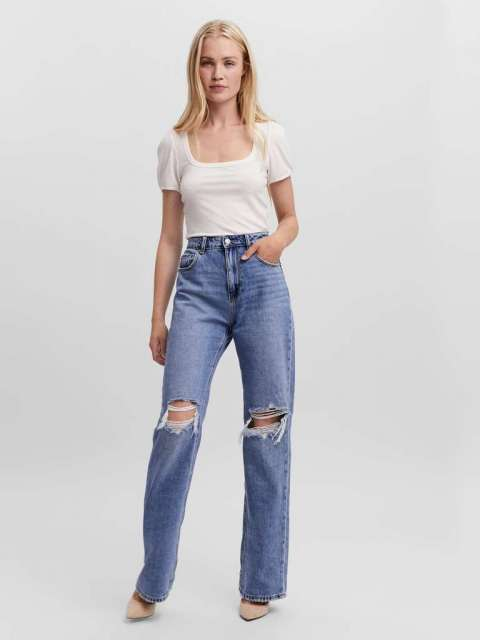Jeans Rotos Mujer Vero Moda 10255230 VMKITHY HR STRAIGHT JEANS LI363