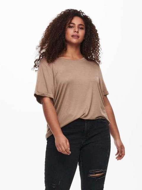Camiseta Básica Mujer Curve Only Carmakoma 15238147 CARCARMA S/S FOLD UP TOP